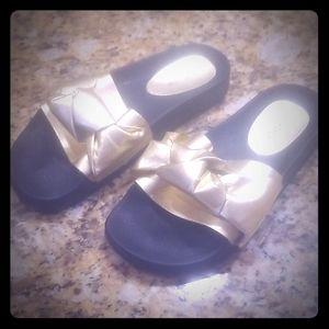 Topshop Gold Bow Sandal Slides Size 9/40